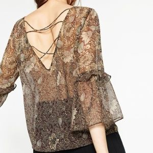 Zara Tops - Zara Floral Printed Bell Sleeve Criss Cross Blouse